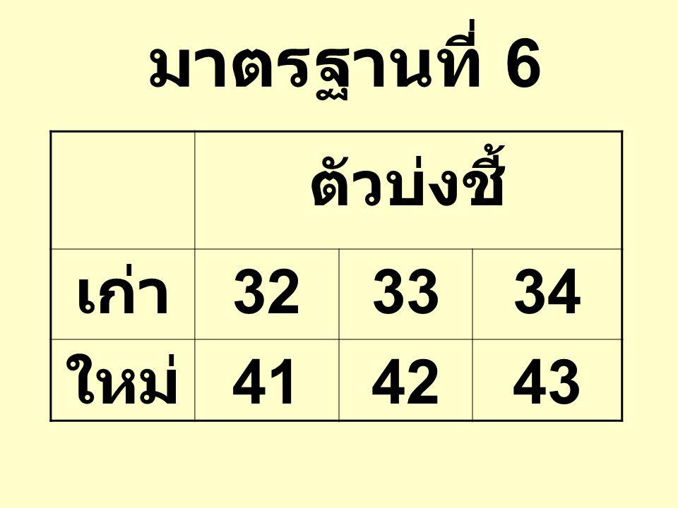 มาตรฐานที่ 6 ตัวบ่งชี้ เก่า 32 33 34 ใหม่ 41 42 43