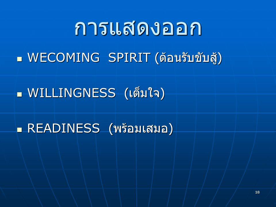 การแสดงออก WECOMING SPIRIT (ต้อนรับขับสู้) WILLINGNESS (เต็มใจ)