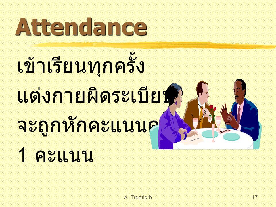 Attendance เข้าเรียนทุกครั้ง แต่งกายผิดระเบียบ จะถูกหักคะแนนครั้งละ