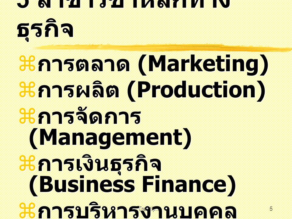 5 สาขาวิชาหลักทางธุรกิจ