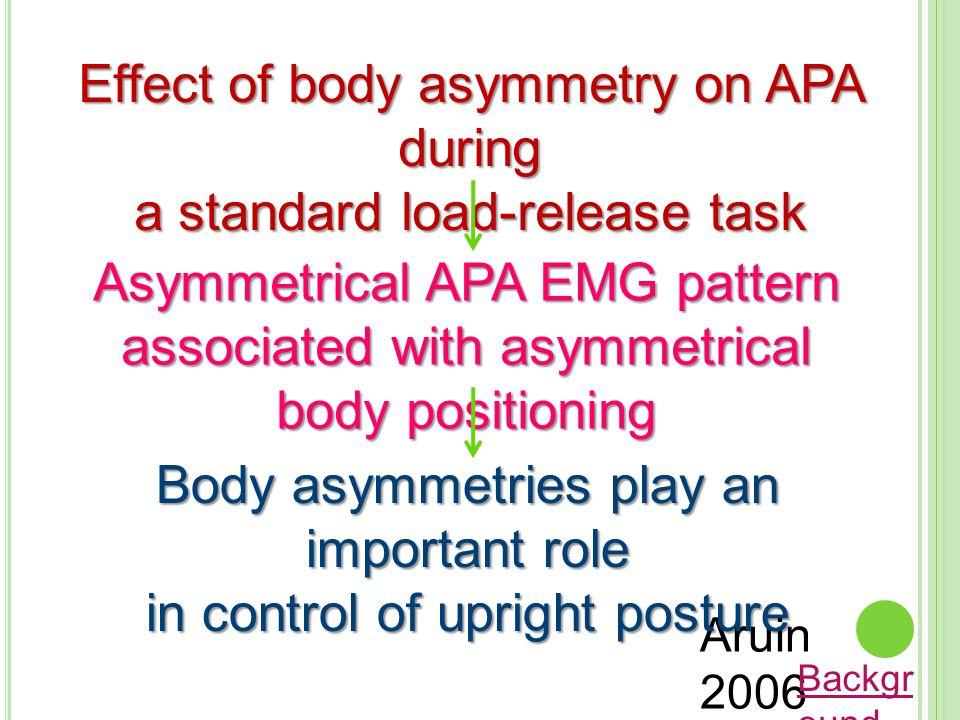 Effect of body asymmetry on APA during a standard load-release task