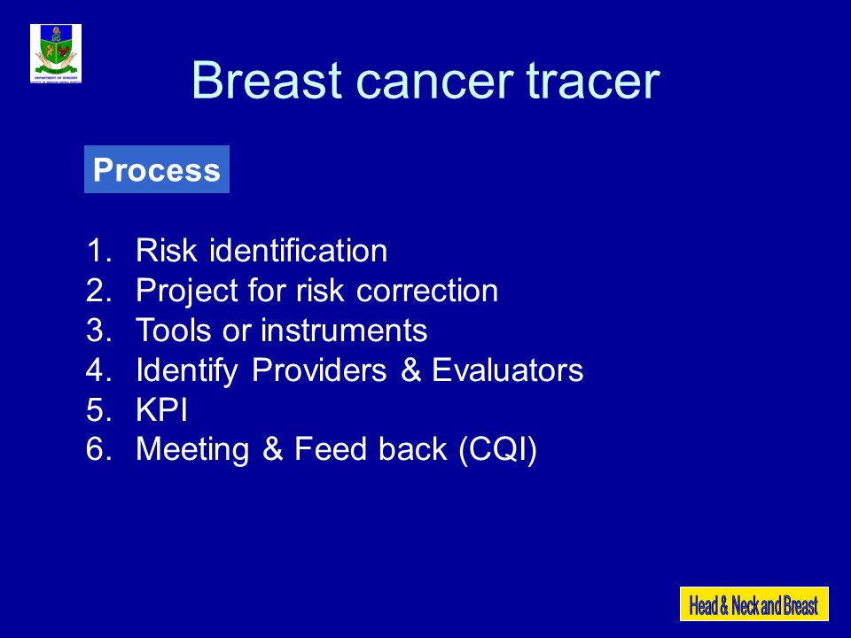 Breast cancer tracer Process Risk identification