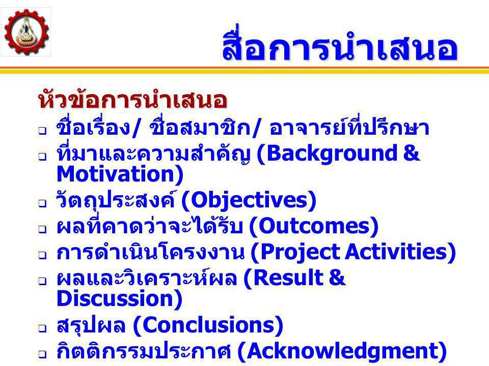 สื่อการนำเสนอ หัวข้อการนำเสนอ ชื่อเรื่อง/ ชื่อสมาชิก/ อาจารย์ที่ปรึกษา