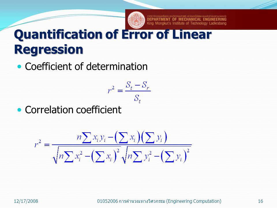 Quantification of Error of Linear Regression