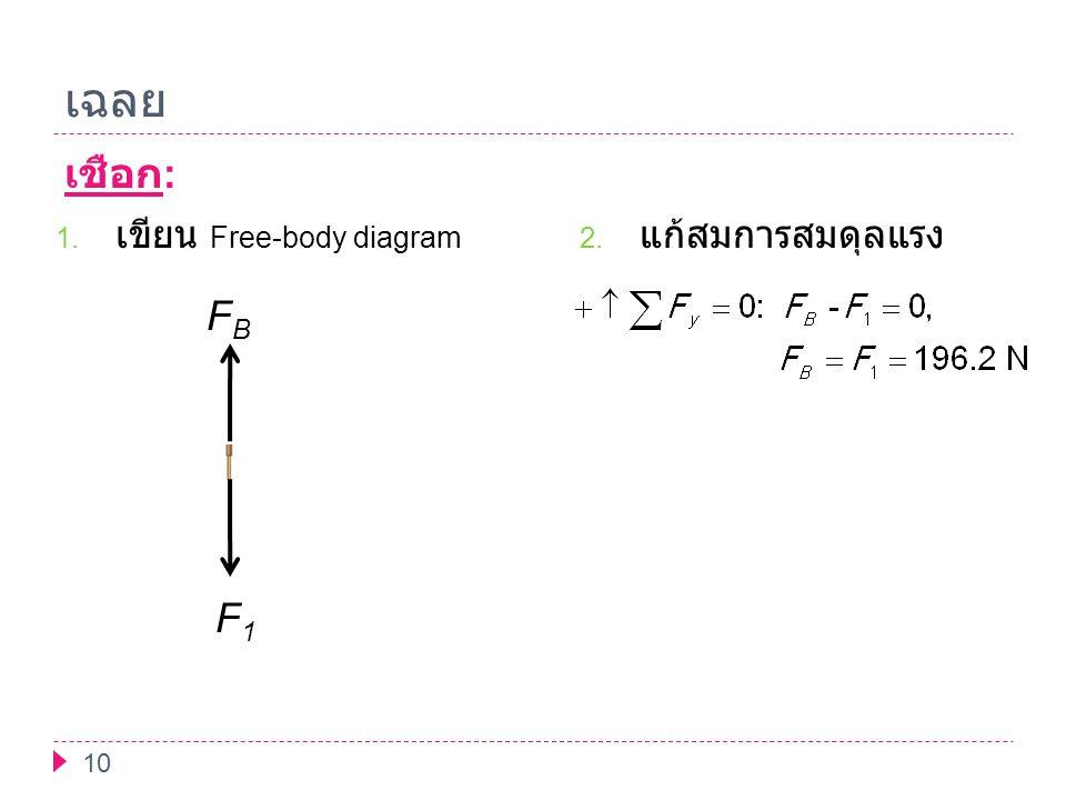 เฉลย เชือก: เขียน Free-body diagram แก้สมการสมดุลแรง F1 FB