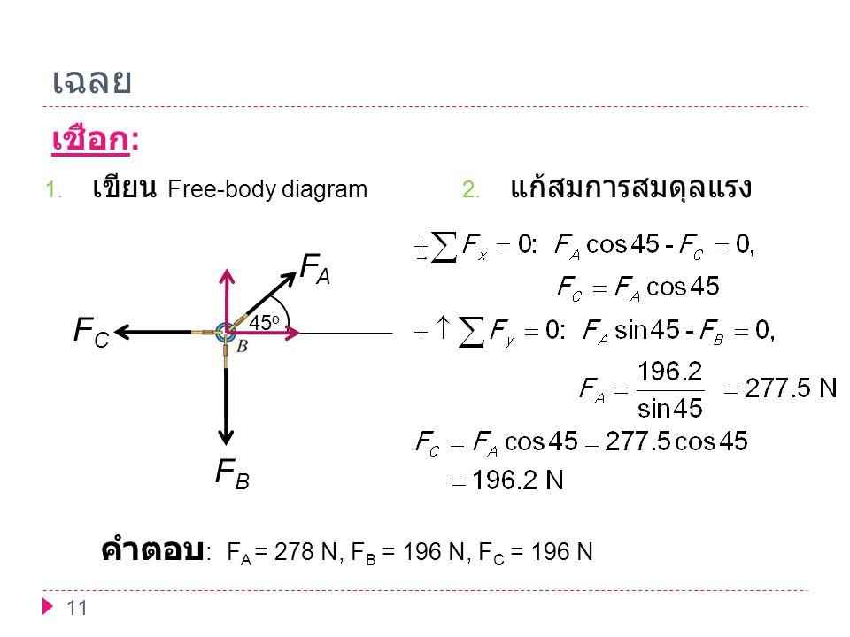 เฉลย เชือก: FA FC FB คำตอบ: FA = 278 N, FB = 196 N, FC = 196 N