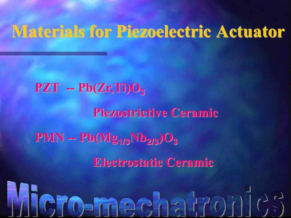 Materials for Piezoelectric Actuator