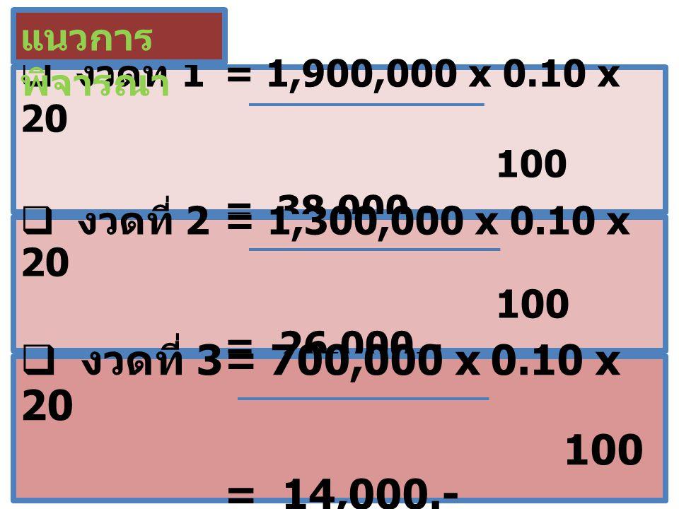 แนวการพิจารณา งวดที่ 1 = 1,900,000 x 0.10 x 20 100 = 38,000.-