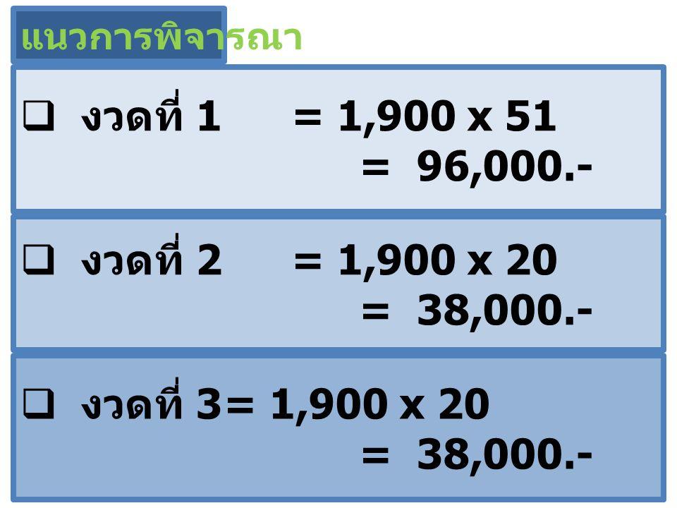 งวดที่ 1 = 1,900 x 51 = 96,000.- งวดที่ 2 = 1,900 x 20 = 38,000.-