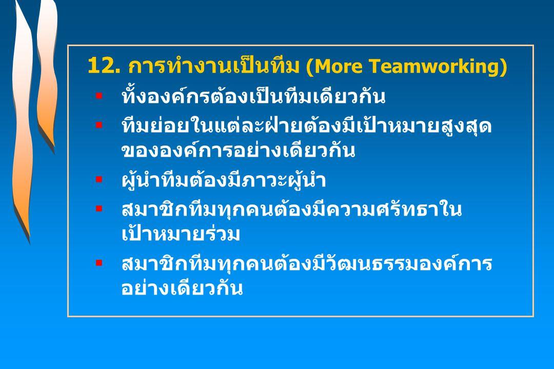 12. การทำงานเป็นทีม (More Teamworking)