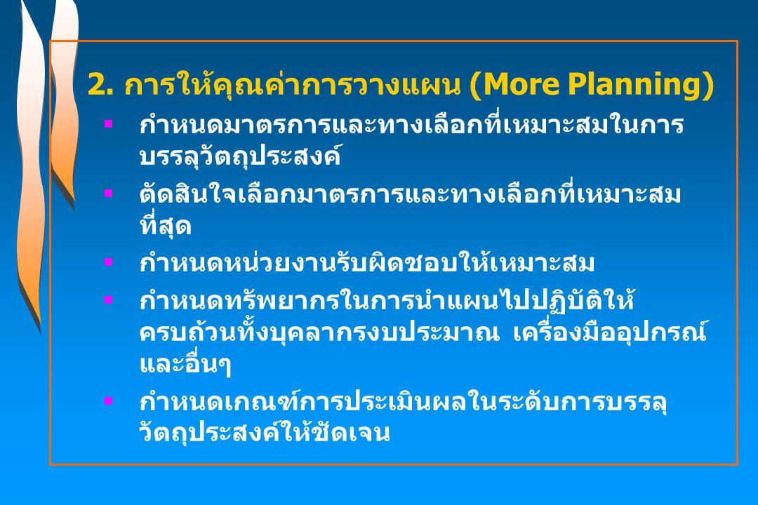 2. การให้คุณค่าการวางแผน (More Planning)