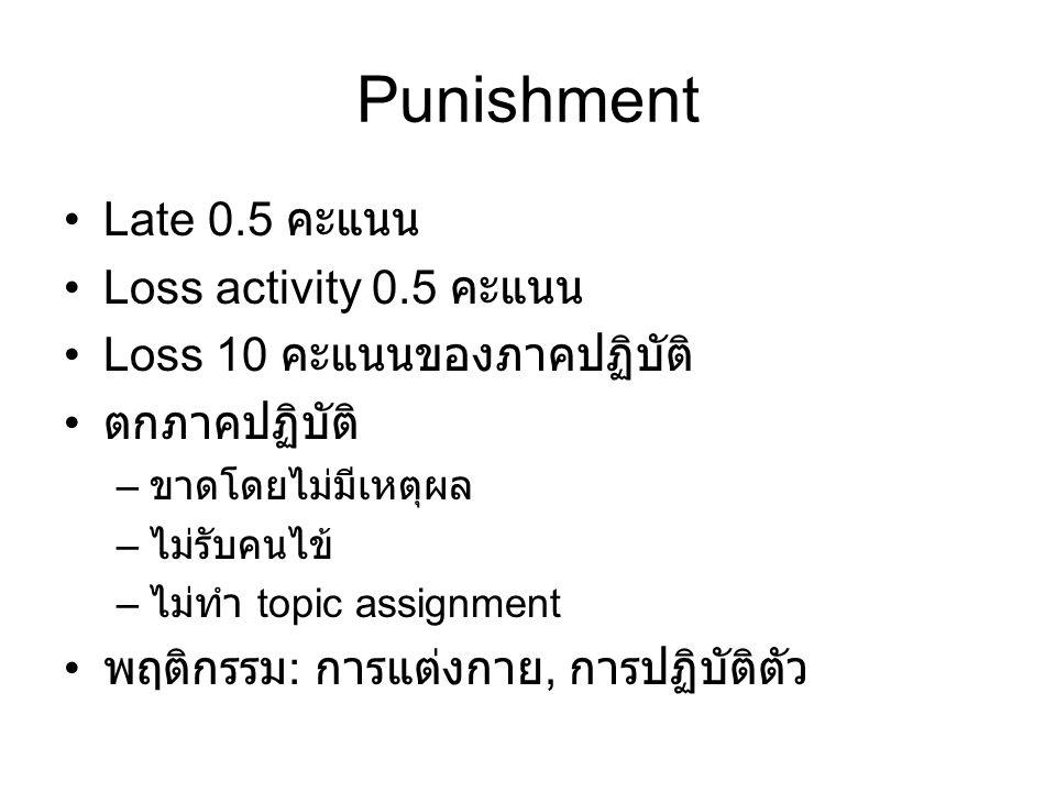 Punishment Late 0.5 คะแนน Loss activity 0.5 คะแนน