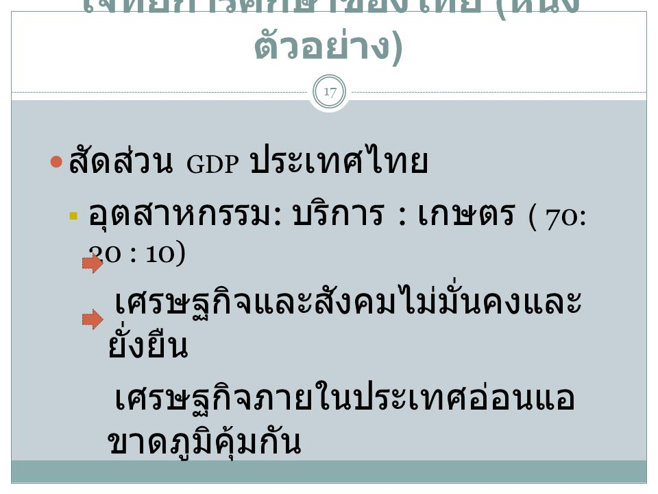 โจทย์การศึกษาของไทย (หนึ่งตัวอย่าง)
