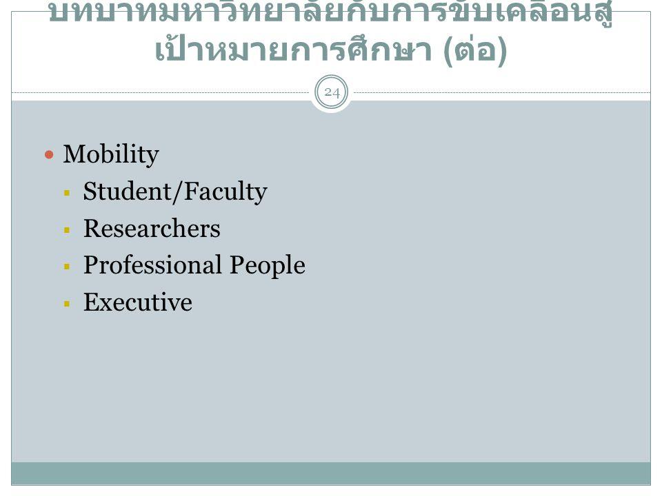 บทบาทมหาวิทยาลัยกับการขับเคลื่อนสู่เป้าหมายการศึกษา (ต่อ)