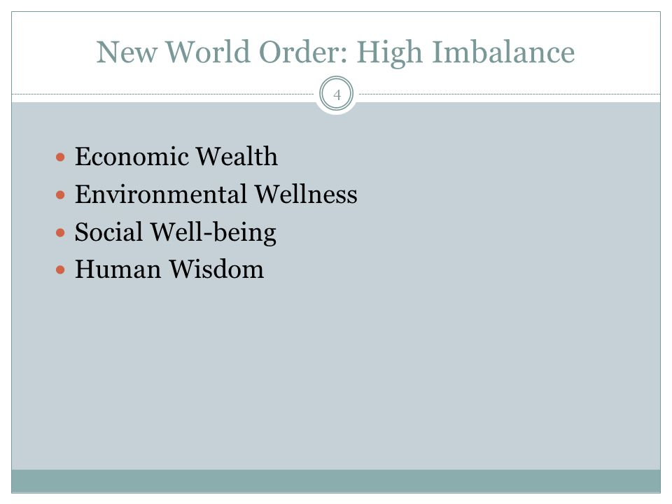 New World Order: High Imbalance