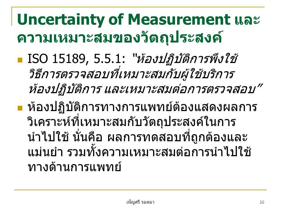Uncertainty of Measurement และความเหมาะสมของวัตถุประสงค์
