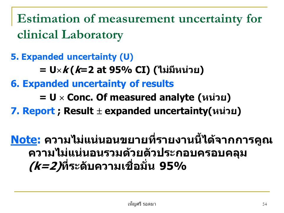 Estimation of measurement uncertainty for clinical Laboratory