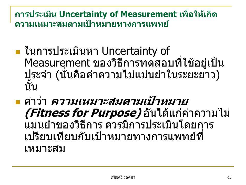 การประเมิน Uncertainty of Measurement เพื่อให้เกิดความเหมาะสมตามเป้าหมายทางการแพทย์