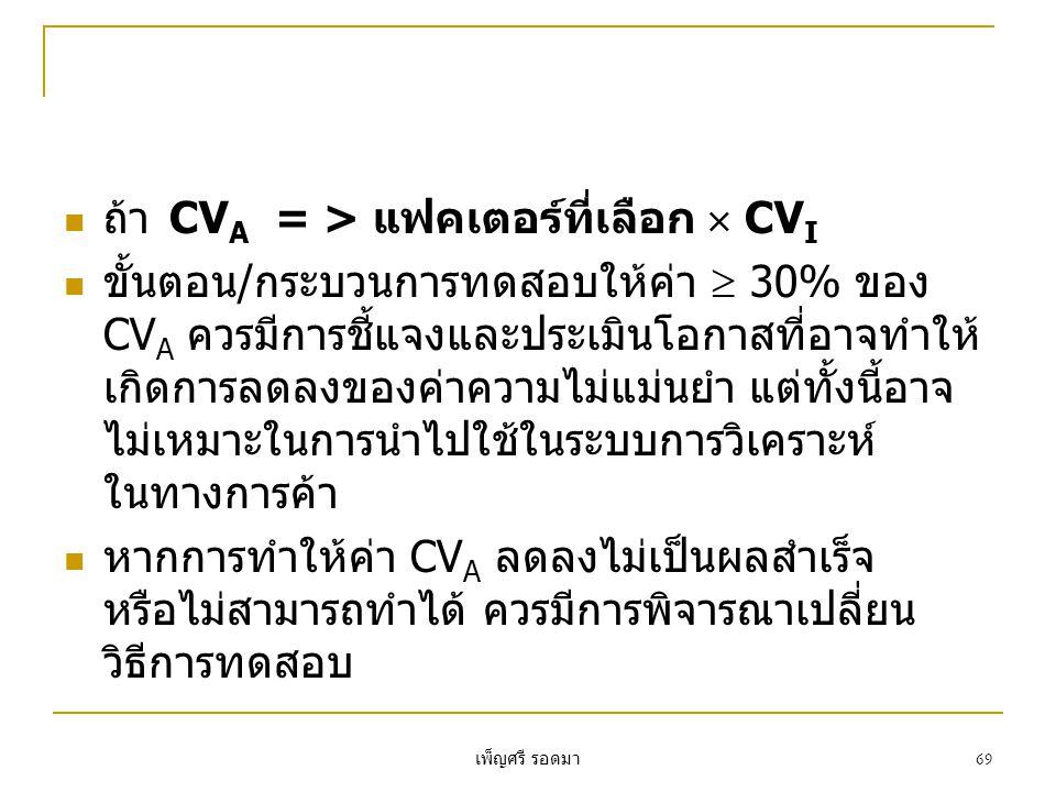 ถ้า CVA = > แฟคเตอร์ที่เลือก  CVI
