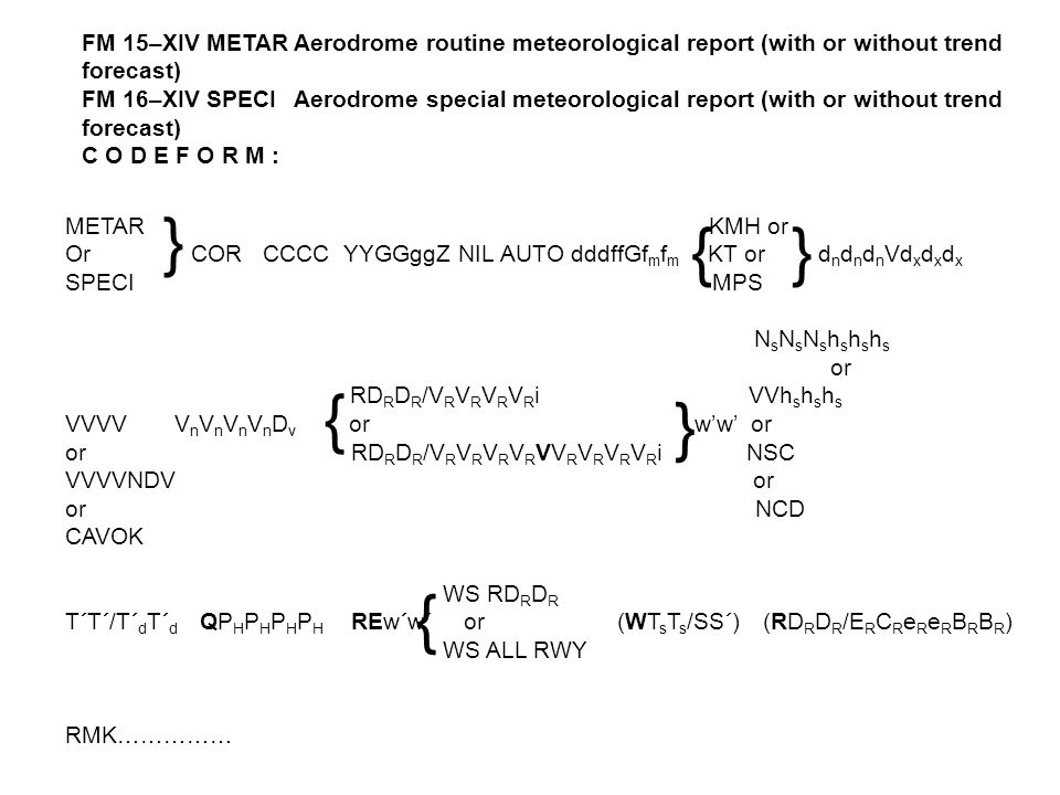 FM 15–XIV METAR Aerodrome routine meteorological report (with or without trend forecast)