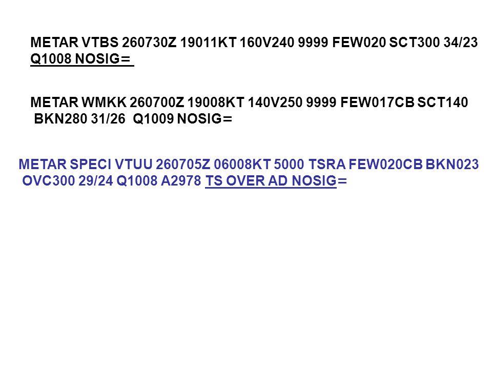 METAR VTBS 260730Z 19011KT 160V240 9999 FEW020 SCT300 34/23