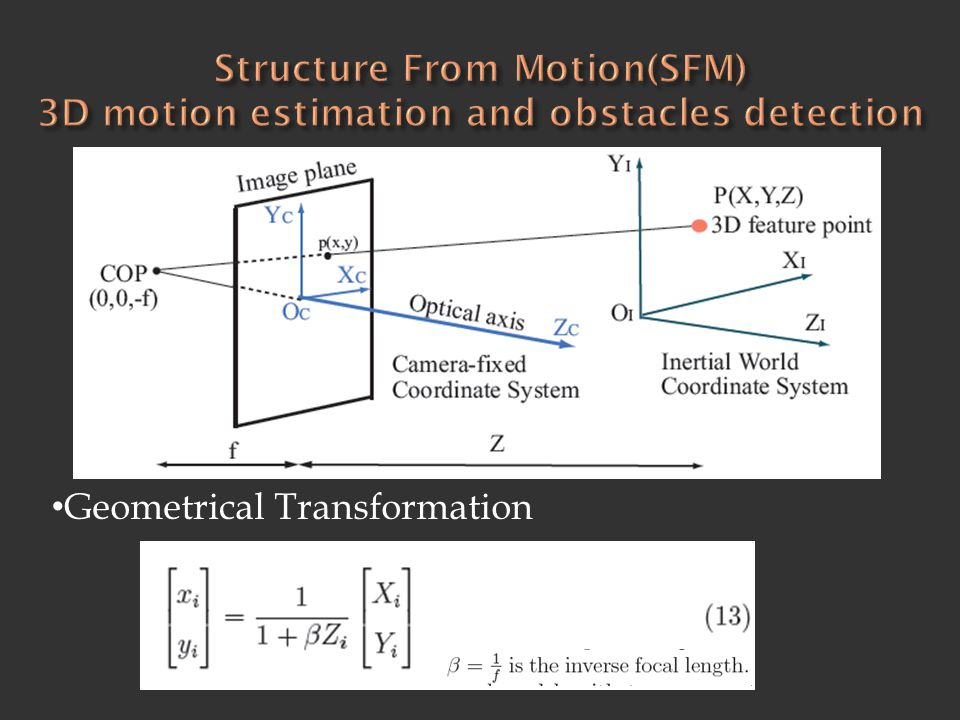 Structure From Motion(SFM) 3D motion estimation and obstacles detection