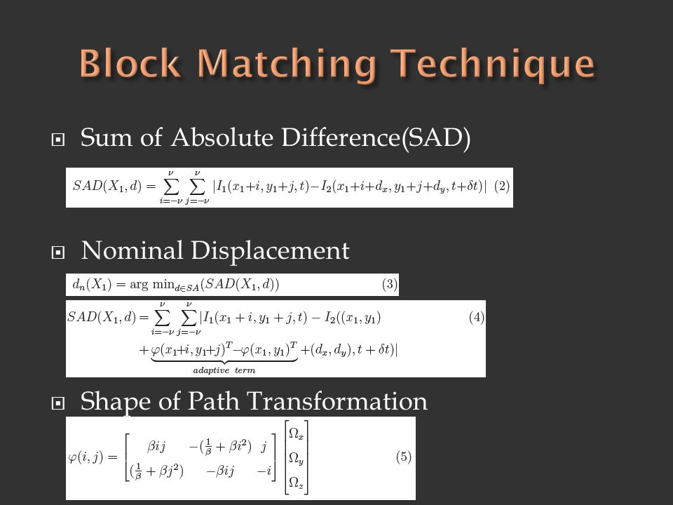 Block Matching Technique