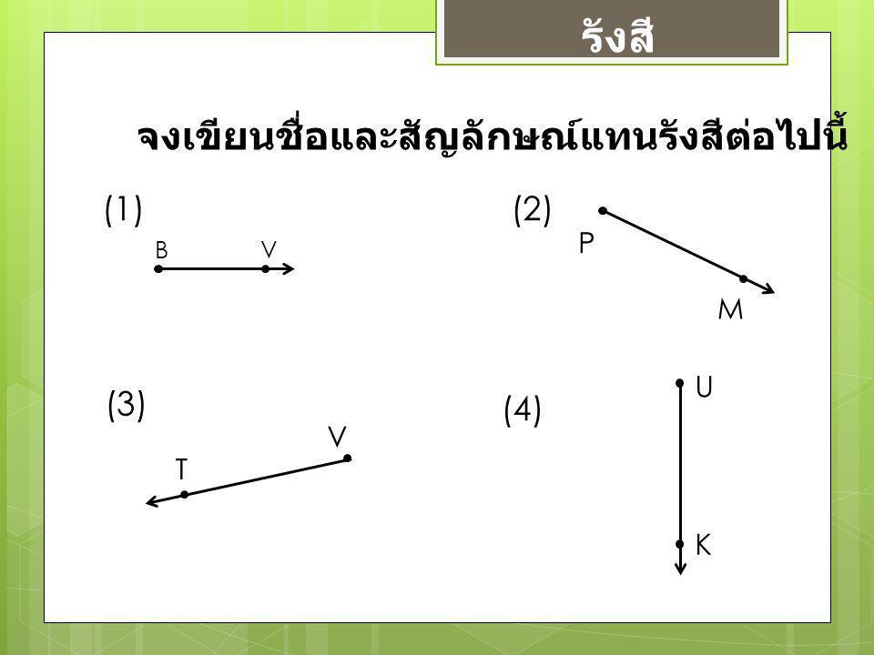 รังสี จงเขียนชื่อและสัญลักษณ์แทนรังสีต่อไปนี้ (1) (2) (3) (4) P M U V