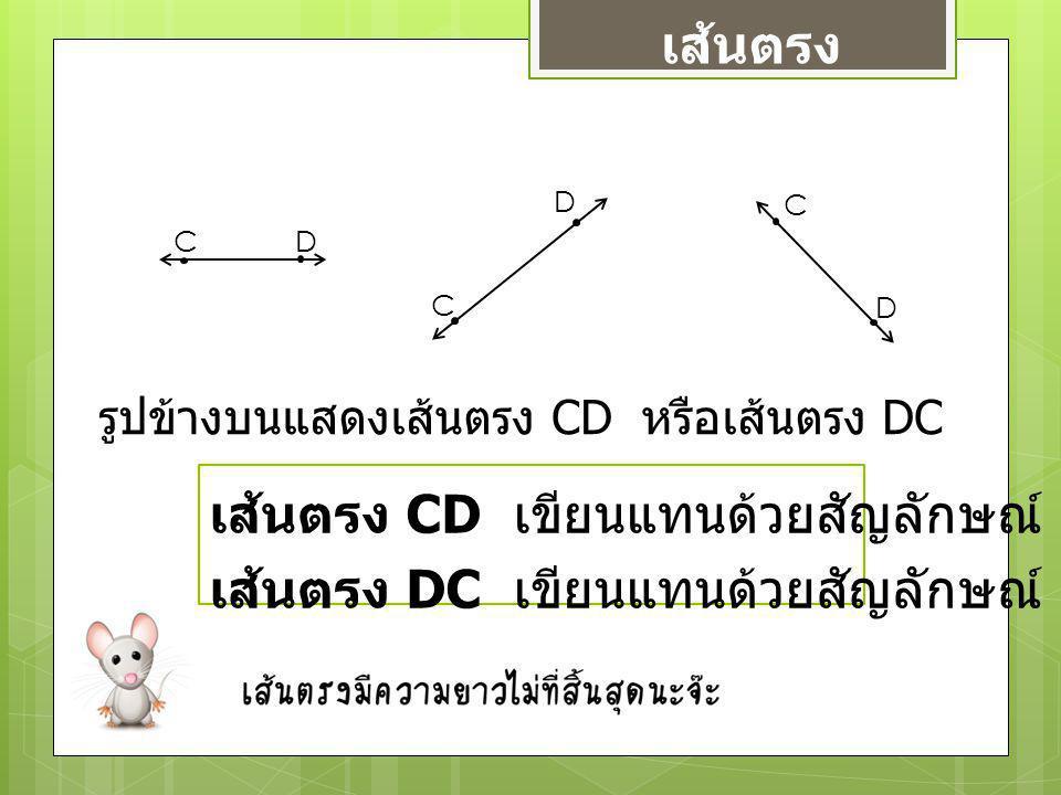 รูปข้างบนแสดงเส้นตรง CD หรือเส้นตรง DC