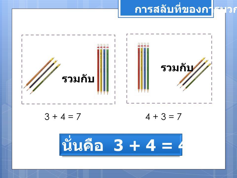 นั่นคือ 3 + 4 = 4 + 3 การสลับที่ของการบวก รวมกับ รวมกับ 3 + 4 = 7