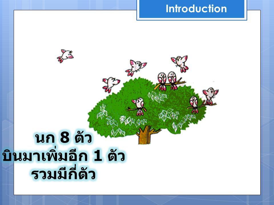 นก 8 ตัว บินมาเพิ่มอีก 1 ตัว รวมมีกี่ตัว