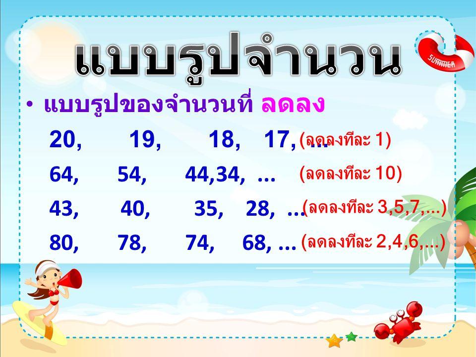 แบบรูปจำนวน แบบรูปของจำนวนที่ ลดลง 20, 19, 18, 17, ...