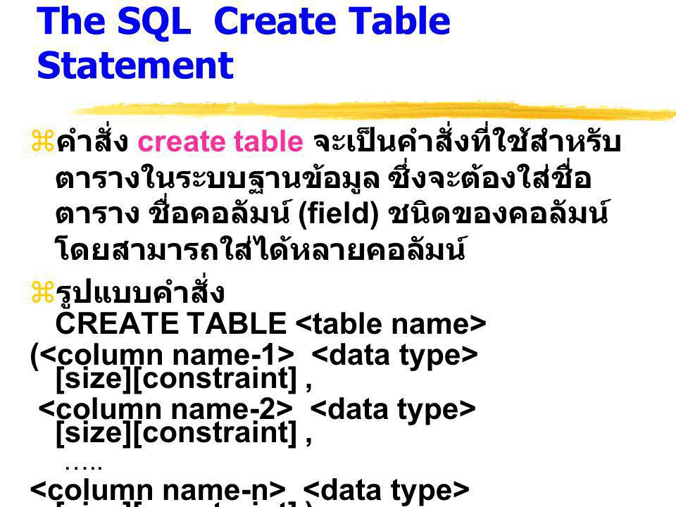 The SQL Create Table Statement