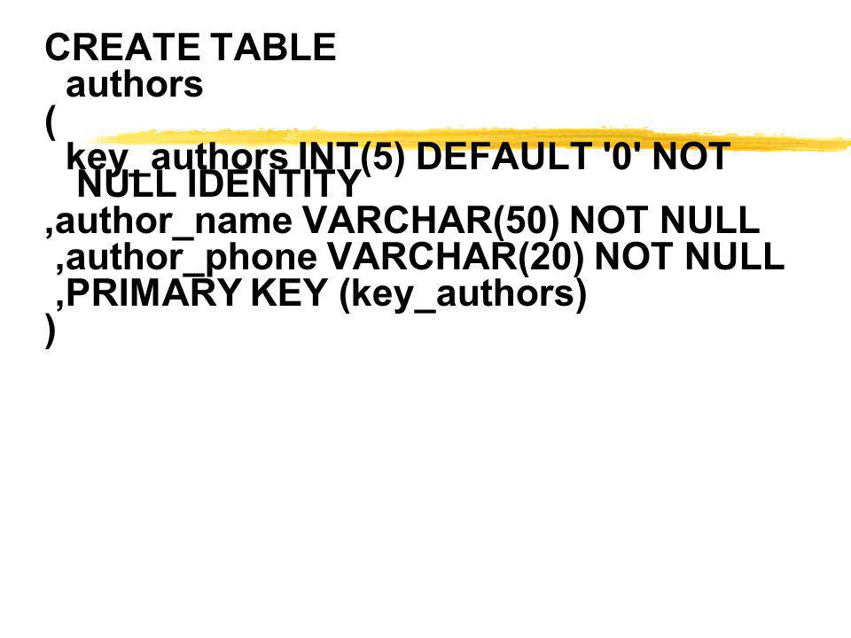 CREATE TABLE authors. ( key_authors INT(5) DEFAULT 0 NOT NULL IDENTITY. ,author_name VARCHAR(50) NOT NULL.
