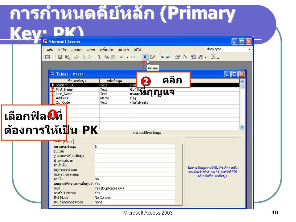 การกำหนดคีย์หลัก (Primary Key: PK)