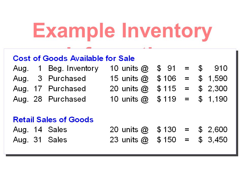 Example Inventory Information