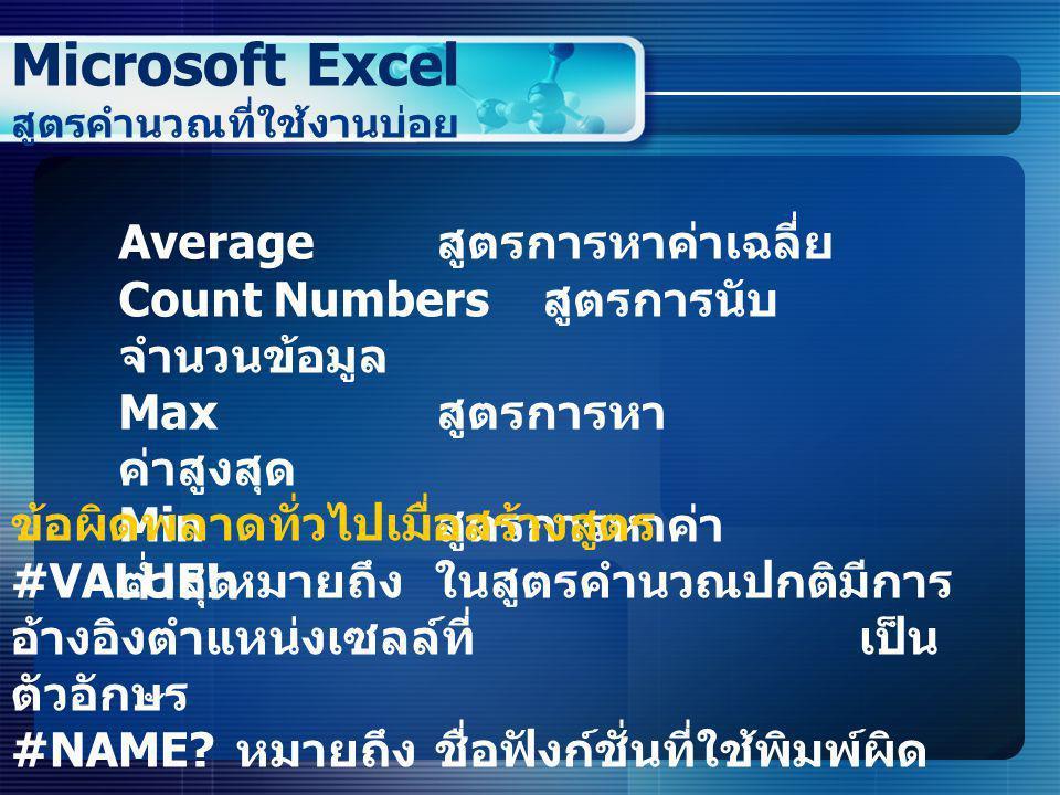 Microsoft Excel สูตรคำนวณที่ใช้งานบ่อย