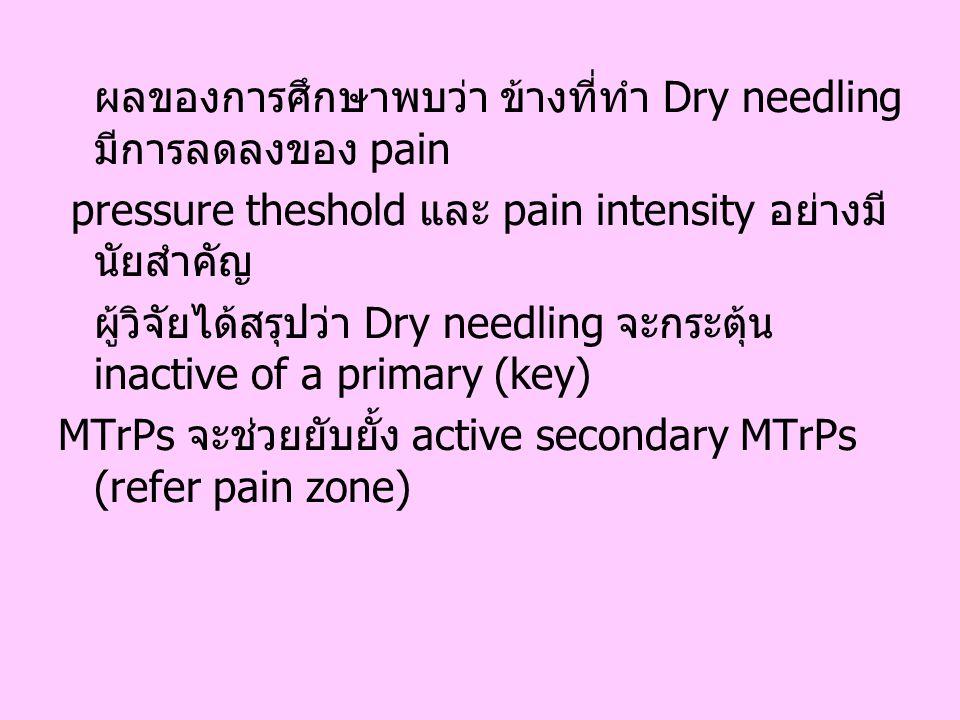 ผลของการศึกษาพบว่า ข้างที่ทำ Dry needling มีการลดลงของ pain