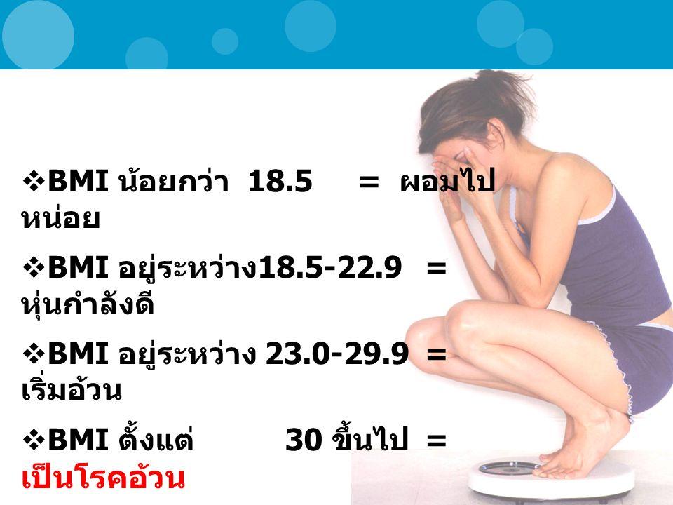 BMI น้อยกว่า 18.5 = ผอมไปหน่อย