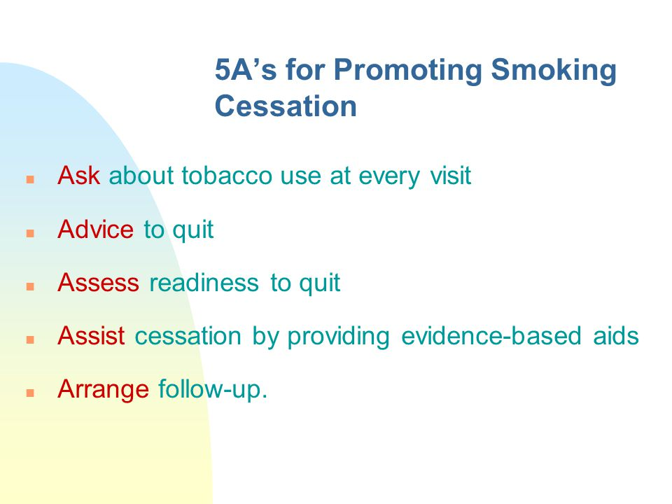 5A's for Promoting Smoking Cessation