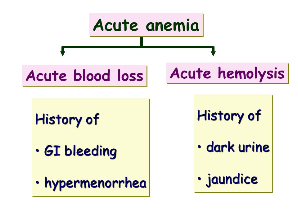 Acute anemia Acute hemolysis Acute blood loss History of History of