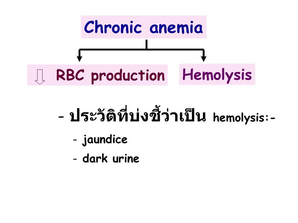 ประวัติที่บ่งชี้ว่าเป็น hemolysis:-