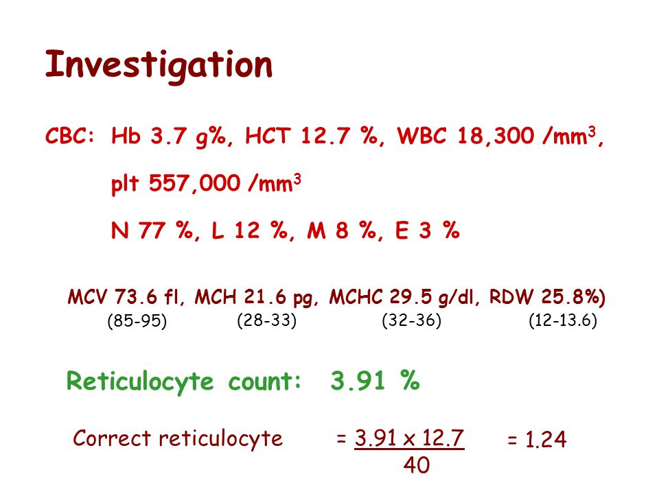 Investigation Reticulocyte count: 3.91 %