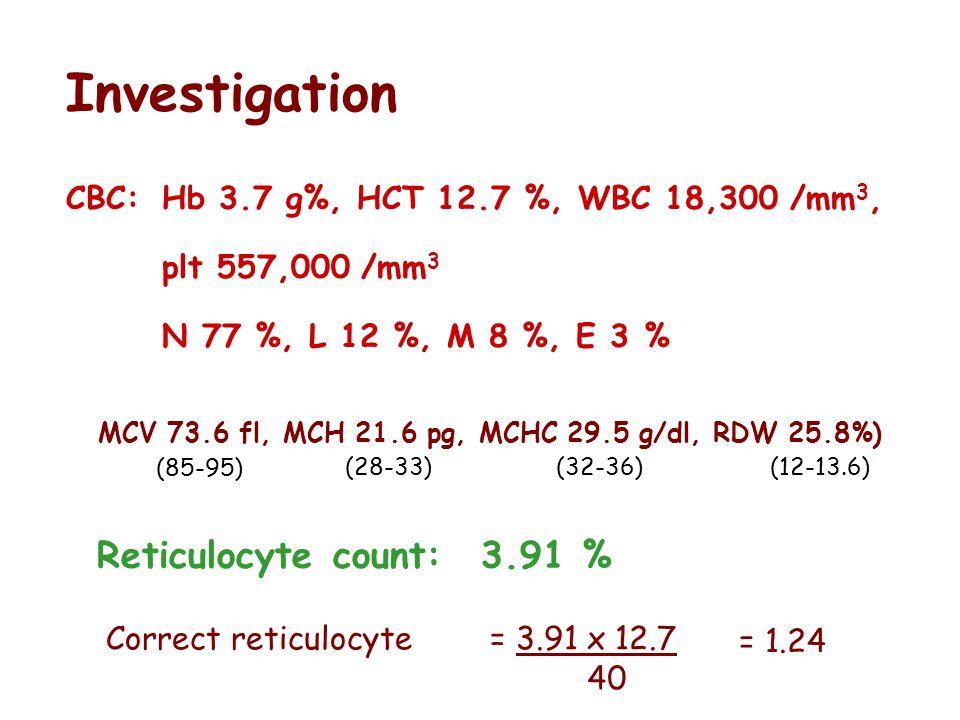 Investigation Reticulocyte count: 3.91 %