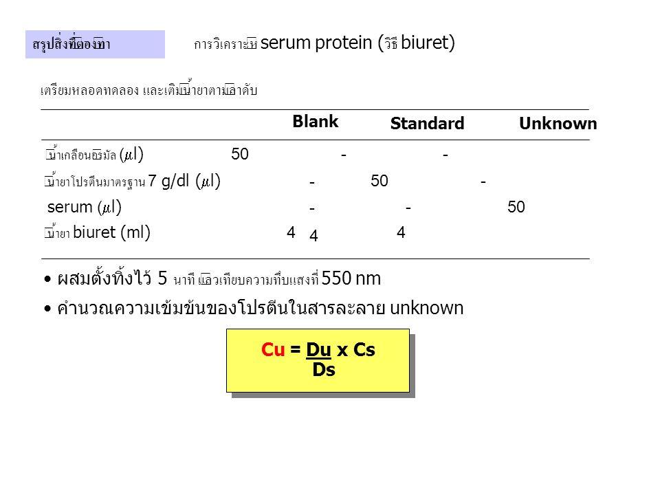 การวิเคราะห์ serum protein (วิธี biuret)