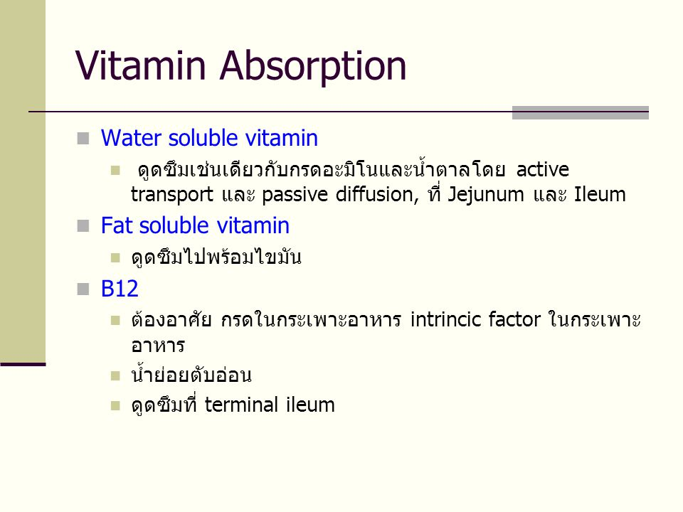 Vitamin Absorption Water soluble vitamin Fat soluble vitamin B12