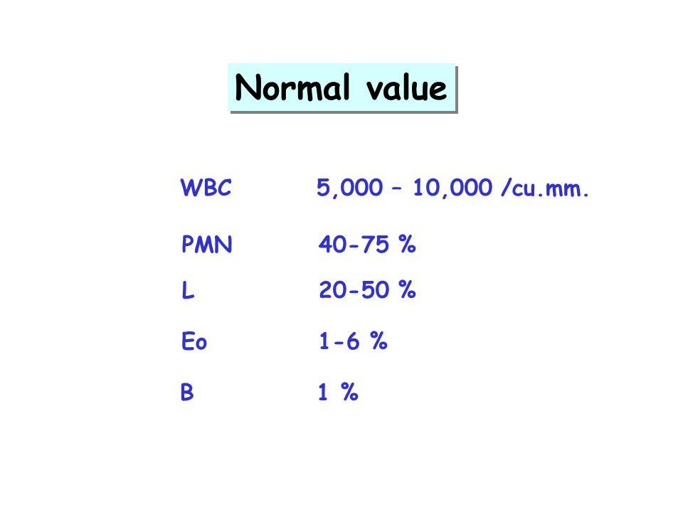 Normal value WBC 5,000 – 10,000 /cu.mm. PMN 40-75 % L 20-50 % Eo 1-6 %