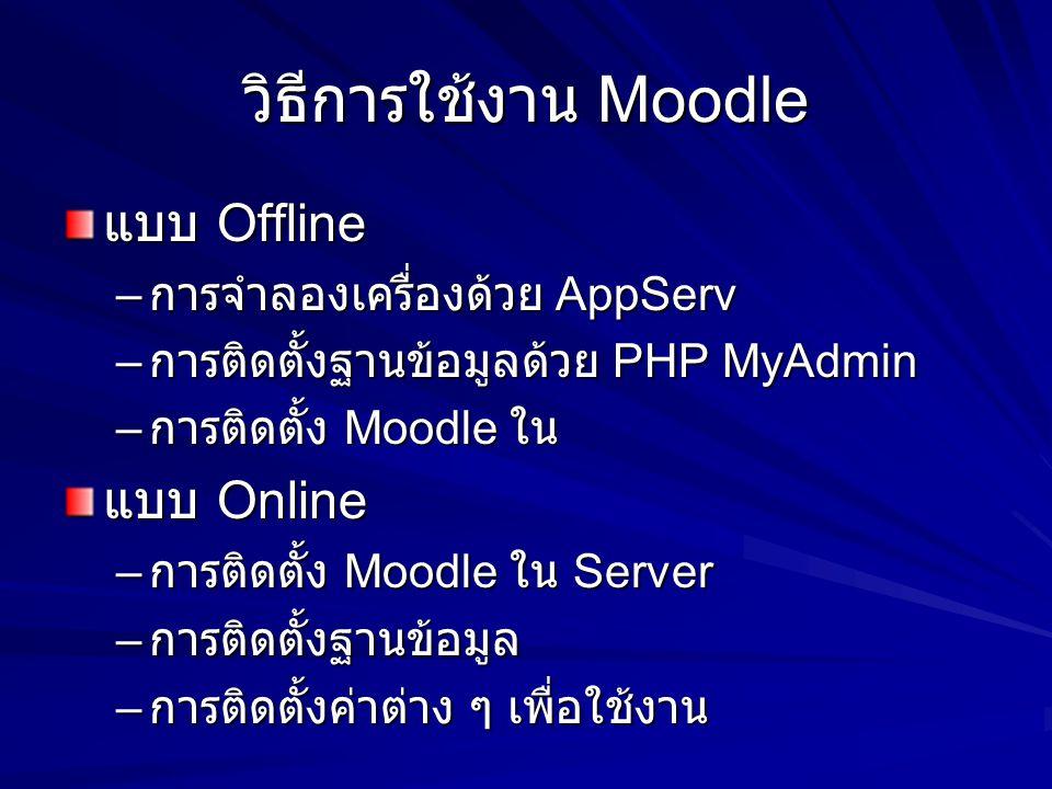 วิธีการใช้งาน Moodle แบบ Offline แบบ Online