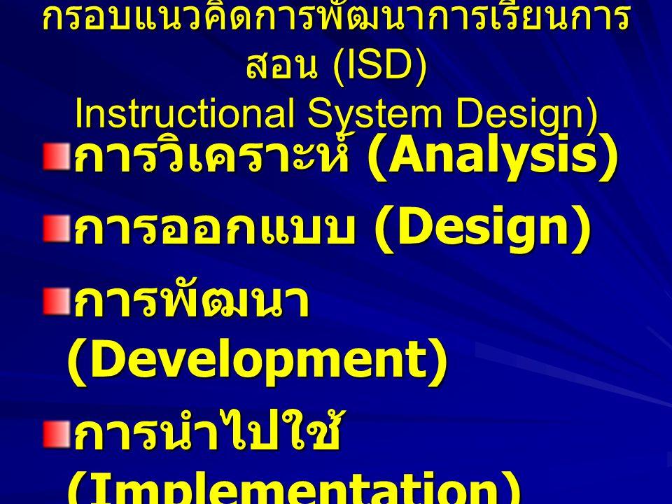 กรอบแนวคิดการพัฒนาการเรียนการสอน (ISD) Instructional System Design)