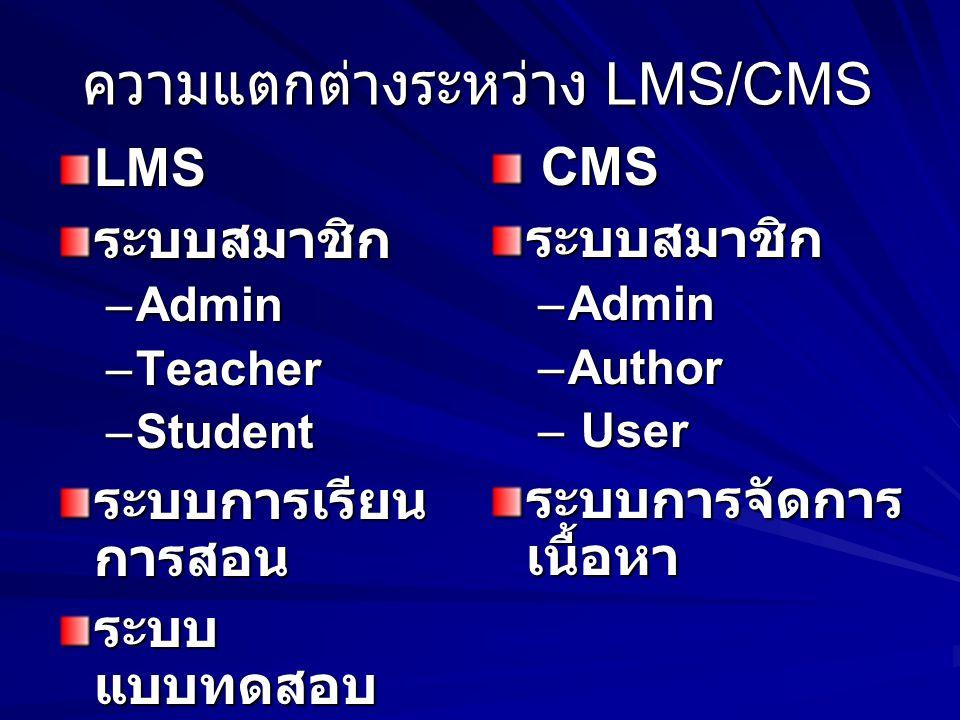 ความแตกต่างระหว่าง LMS/CMS
